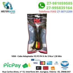 1058 - Cabo Adaptador P2 P3 P4 X Av 3 Rca 1,30 Mts