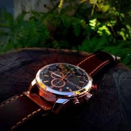 Relógio Curren Masculino 8291 Pulseira De Couro Cronógrafo