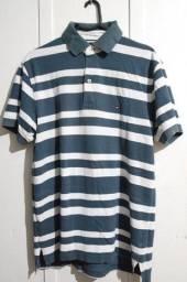 Camisa Polo Tommy Hilfiger Original Tamanho S/P Listrada Azul e Branca