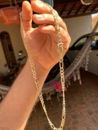 Corrente prata 925 pura banhada  a ouro
