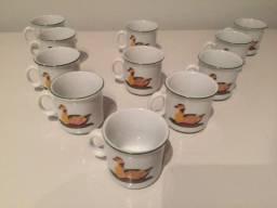 Jogo 11 Mini Canecas Decorativa P/ Café De Porcelana Colorida