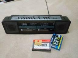 Toca Fitas Duplo, Rádio E Gravador Com Duas Fita K7 Novas