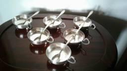 Jogo de taças com colheres para sobremesa em prata da década de 50