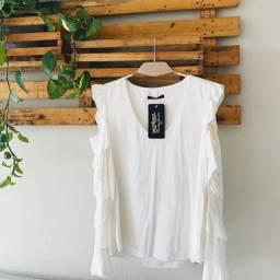 Blusa branca lez a lez manga longa