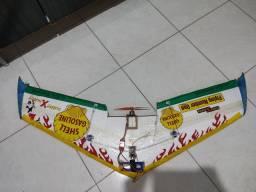 Asa zagi aeromodelo+controle hk6s+ 2 baterias 2.2 avião de controle remoto, brinquedo