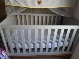 Berço mini cama Retrô Square Pés em Madeira Natural - Cinza