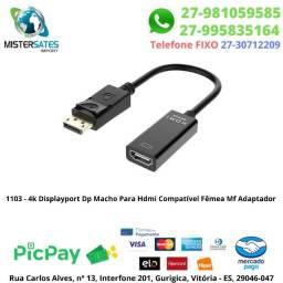 1103 - 4k Displayport Dp Macho Para Hdmi Compatível Fêmea Mf Adaptador