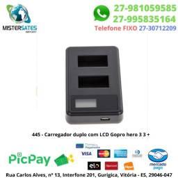 445 - Promoção - Carregador duplo com LCD Gopro hero 3 3 +