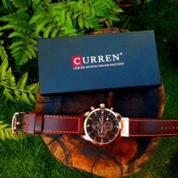 Relógio Curren Masculino Pulseira De Couro Cronógrafo 8291