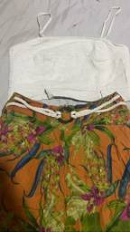Título do anúncio: Conjunto Cropped linhas e formas e calça Panta curta Angelique TAM M Valor 70,00