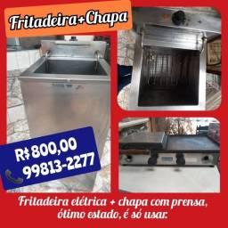 Fritadeira elétrica+Chapa com prensa