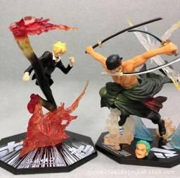 Kit 2x Action Figures Boneco Zoro & Sanji One Piece 15cm
