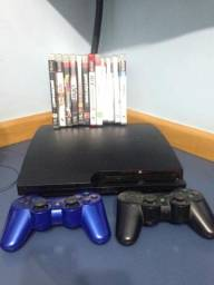 Playintation 3 slim 160 GB + 12 jogos + 2 controles (leia o anúncio)