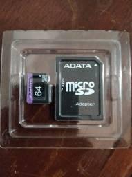 Cartão de memória Adata 64Gb c/ adaptador, NOVO