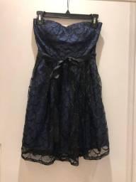 vestido tomara que caia sem bojo azul marinho as u wish - tamanho P