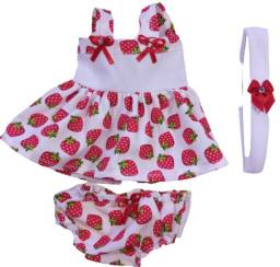 kit roupas para bonecas 3 vestidos 3 calcinhas e tiaras para bonecas