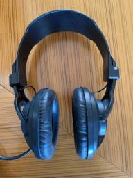 Fone de Ouvido Headphone Supra-Auriculares Com Fio Preto Estéreo