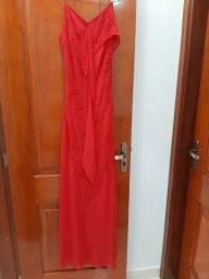 Vestido de festa vermelho bordado