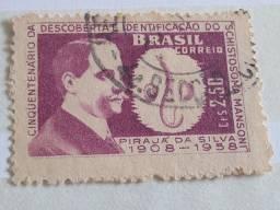"Título do anúncio: Selo ""Cinquentenário Descoberta ""Schistosoma Mansoni"" - 2,50 Cr"", de 1959, carimbado"