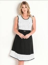 Vestido midi bolinhas romântico preto e branco tamanho M