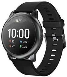 """Smartwatch Haylou Solar 1.28"""" caixa 45.3mm de metal pulseira preta de silicone LS05"""