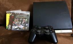 Console Playstation 3 com três jogos originais