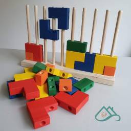 Brinquedo Educativo Blocos De Encaixe Vertical Tetris 25 Pçs