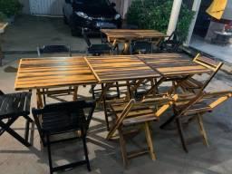 Mesas de madeira com 04 cadeiras 30 jogos novos