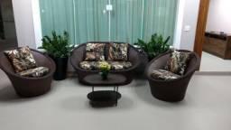 Conjunto de sofá messias em fibra sintética