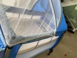 Berço portátil Burigotto Azul com colchão ortobom