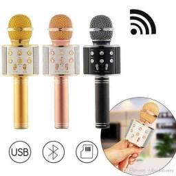 Microfone Karaokê Bluetooth Portátil Com Controle Mixer ??
