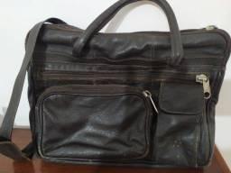 Bolsa de couro masculina (usada) com várias divisórias