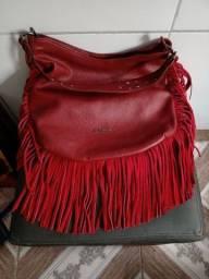 Bolsa couro legítimo vermelha