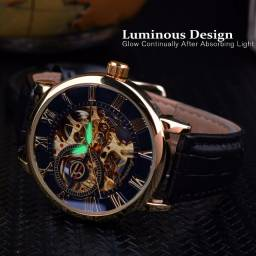 Relógio clássico Forsining luxo masculino mecânico design esqueleto