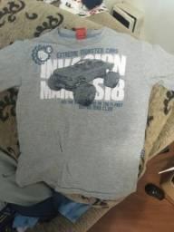 Camiseta  manga curta N 8 cinza