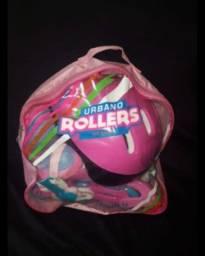 Patins Urbano Rollers + kit Proteção