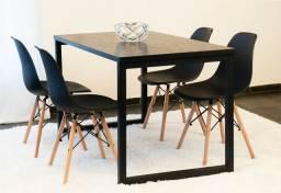 Conjunto de mesa 4 cadeira estilo industrial