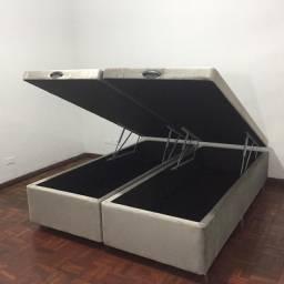 Base de cama box baú espumado queen (158x35x188), em até 6x sem juros