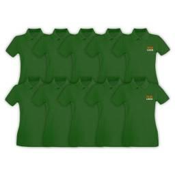 Título do anúncio: Kit com 10 camisas polo, uniforme, a partir de R$ 500,00 Malha Premium, Verde Bandeira