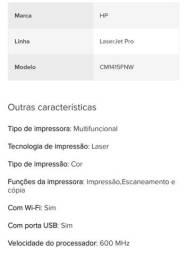 IMPRESSORA LASERJET PRO CM1415FNW / CM1415FN <br><br> MULTIFUNCIONAL EM CORES - COM WIFI