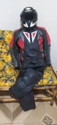 Macacão moto em couro legítimo