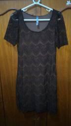 Vestido rendado marrom tamanho P