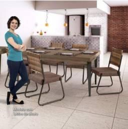Conjunto de mesa com 6 cadeiras novo