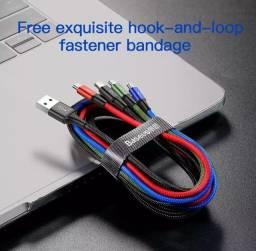 Cabo 3 em 1 Baseus p/ carregador de celulares universal 1,2metros malha nylon top