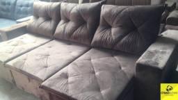 Sofá retrátil e reclinável 2.90 tecido aveludado 10x220,00