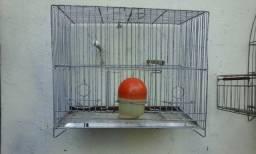 Título do anúncio: vendo gaiola novinha de três comedoros barata