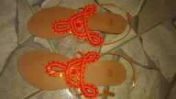 Sandália - Missangas Vermelhas e Laranjas - City Shoes
