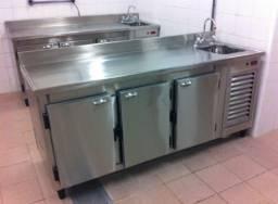 Balcão de serviço refrigerado, fabricamos com ou sem cuba