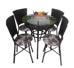 Jogo de Mesa Vime Redonda com Tampo de Vidro e 4 Cadeiras Bonam