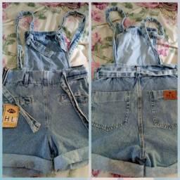 Salopete jeans tamanho 40, valor 50 reais